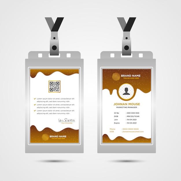 Marrone corporate id card design template, concetto liquido Vettore Premium