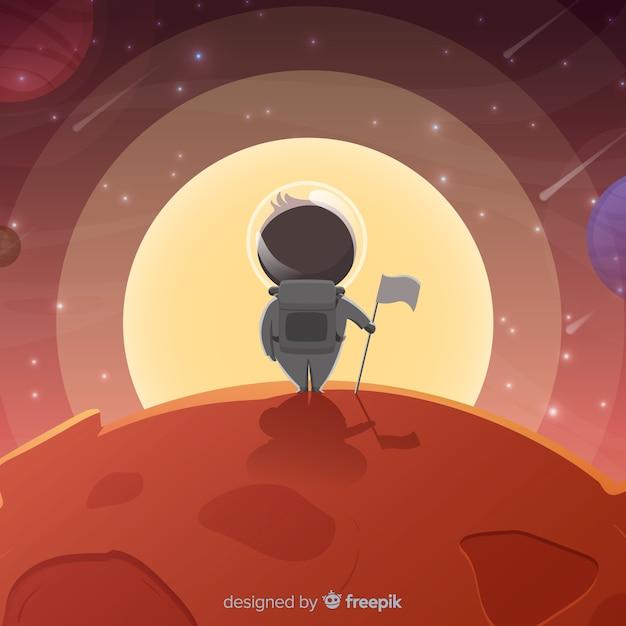 Marte colorato sfondo con design piatto Vettore gratuito
