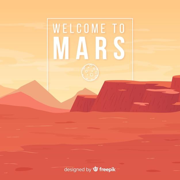 Marte disegnati a mano sullo sfondo del paesaggio Vettore gratuito