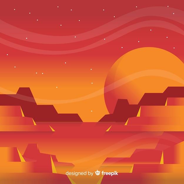Marte paesaggio sfondo con design piatto Vettore gratuito