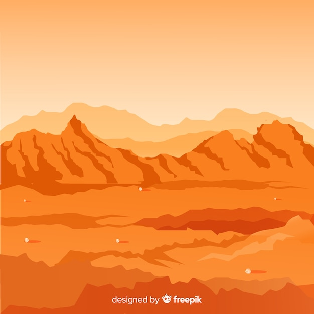 Marte sullo sfondo del paesaggio Vettore gratuito