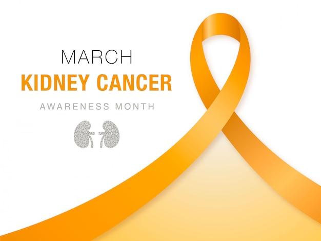 Marzo - mese di sensibilizzazione sul cancro del rene. Vettore Premium
