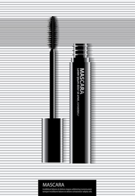Mascara cosmetica del manifesto con l'illustrazione di vettore di imballaggio Vettore Premium