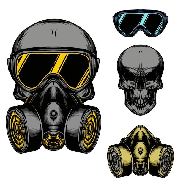 Maschera antigas del cranio Vettore Premium