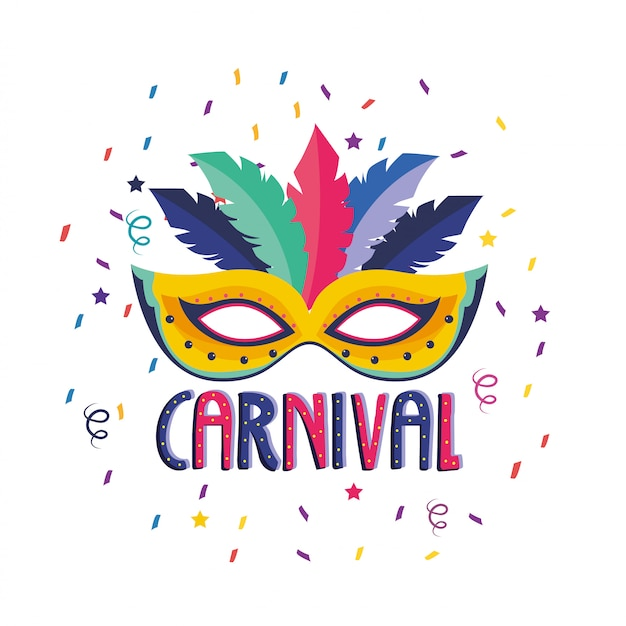 Maschera con decorazione di piume alla celebrazione del festival Vettore Premium
