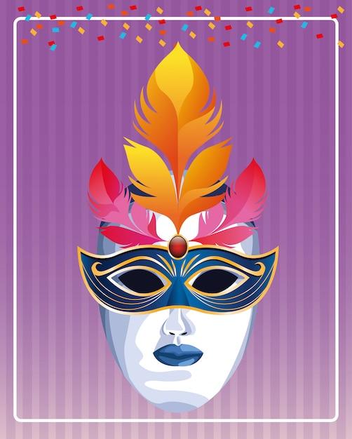 Maschera con illustrazione vettoriale di piume Vettore Premium