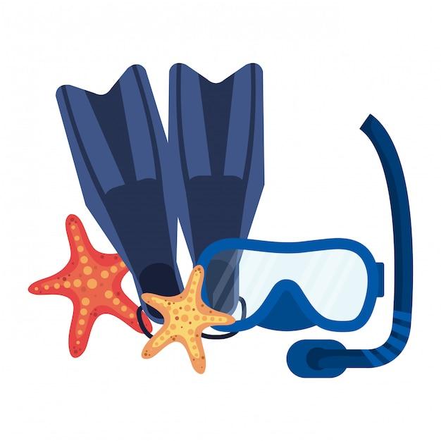 Maschera da sub con maschera e pinne con stella marina Vettore Premium