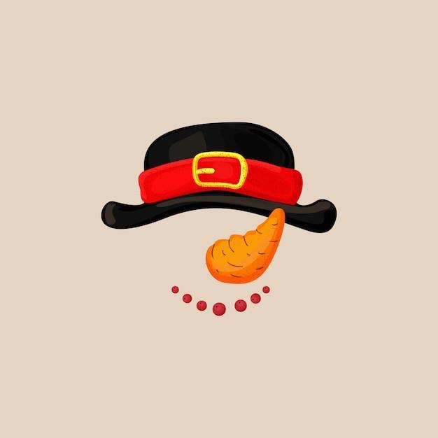 Maschera della cabina di scena della foto di natale con il cappello del pupazzo di neve, carota come naso e sorriso con le bacche. snowman photo booth elements Vettore Premium