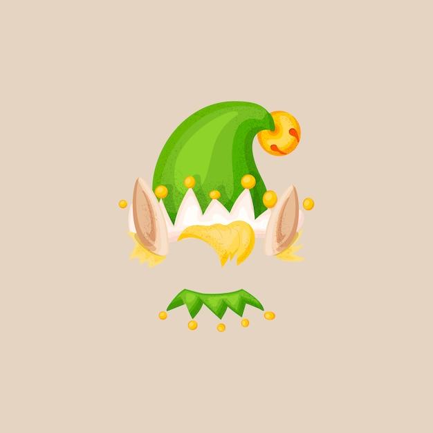 Maschera della cabina di scena della foto di natale dell'elfo verde di natale. Vettore Premium