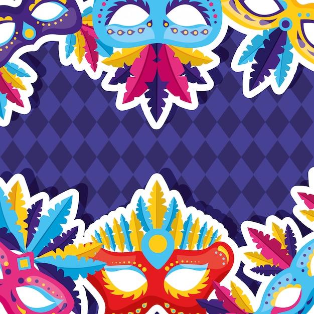 Maschera di carnevale sfondo Vettore gratuito