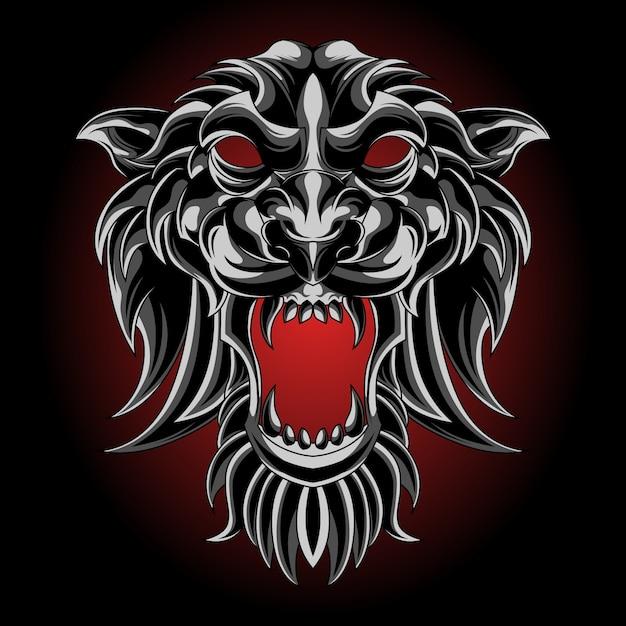 Maschera di tigre d'argento Vettore Premium