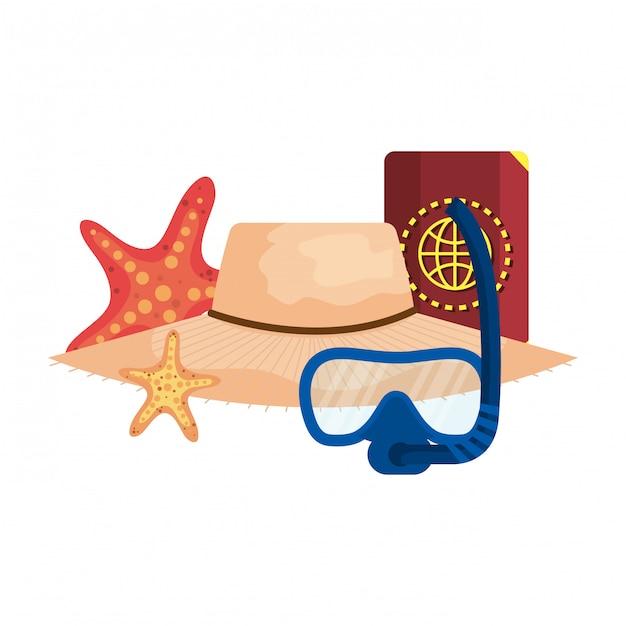 Maschera e passamontagna da sub con passamontagna e cappello di paglia Vettore Premium