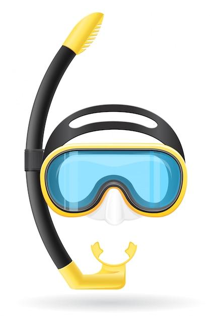 Maschera e tubo per le immersioni. Vettore Premium