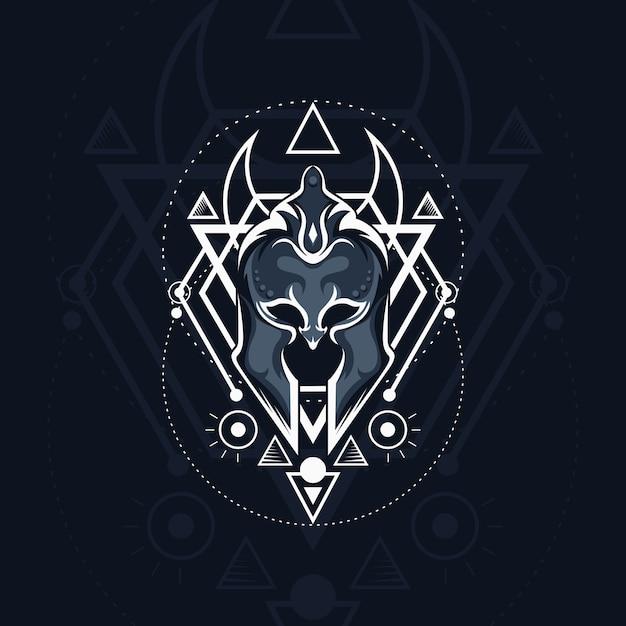 Maschera galdiator geometrica Vettore Premium