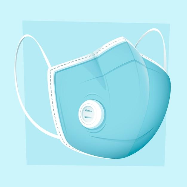 Maschera medica design piatto e ventilazione Vettore gratuito