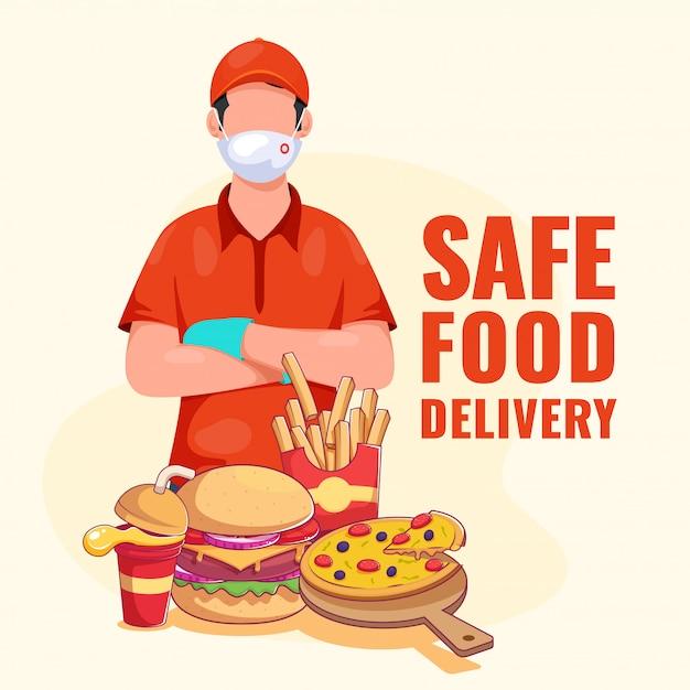 Maschera protettiva di usura del ragazzo delle consegne con guanti e presentazione di fast food su sfondo giallo chiaro per alimenti sicuri. Vettore Premium