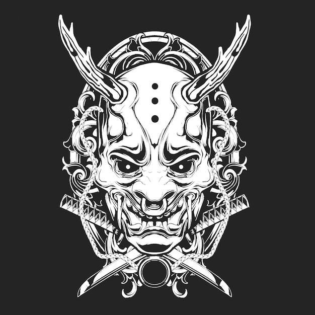 Maschera spaventosa ornamentale Vettore Premium