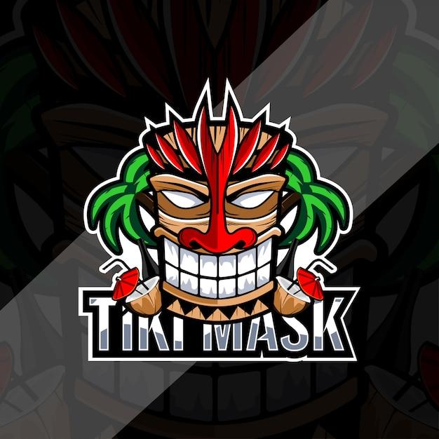 Maschera tiki con design logo cocco e bottiglia Vettore Premium