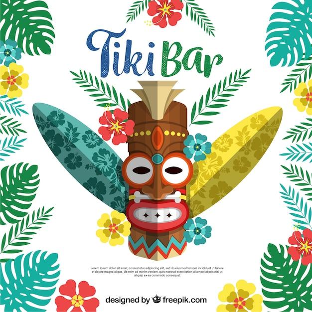 Maschera tiki etnica con piante e tavole da surf Vettore gratuito