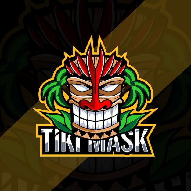 Maschera tiki mascotte logo esport design Vettore Premium