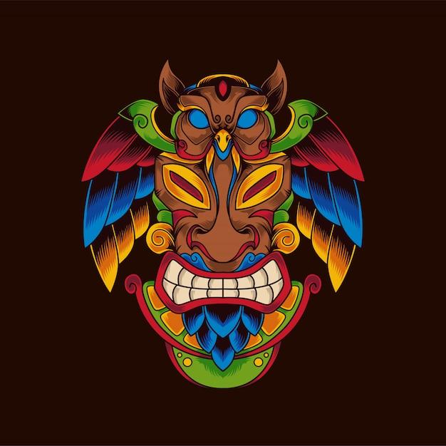 Maschera tiki Vettore Premium