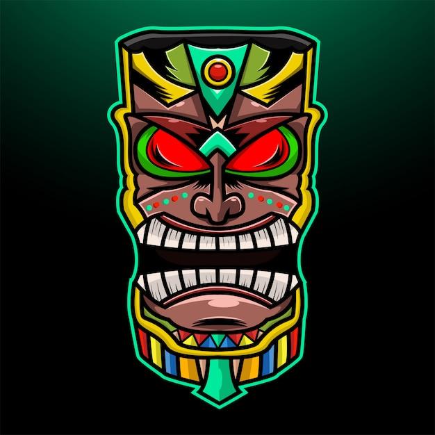 Maschera tribale hawaiana tradizionale tiki con volto umano Vettore Premium