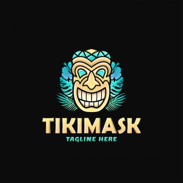 Maschera variopinta tiki mask logo design vector illustration Vettore Premium