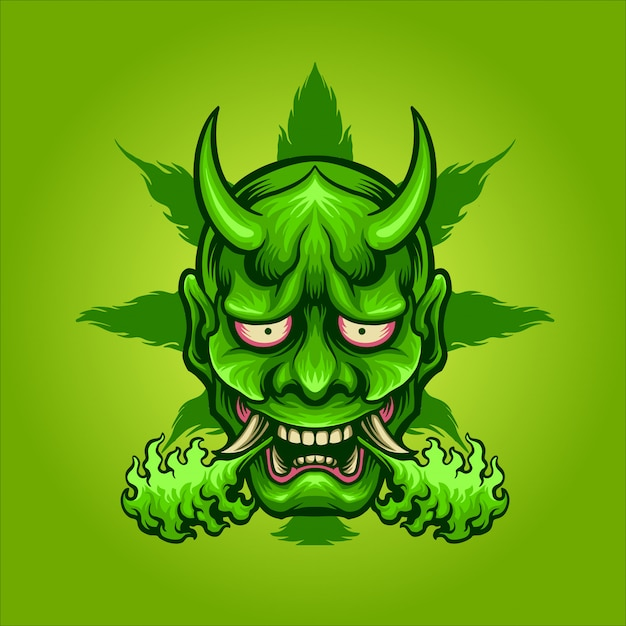 Maschera verde di hanyajuana Vettore Premium
