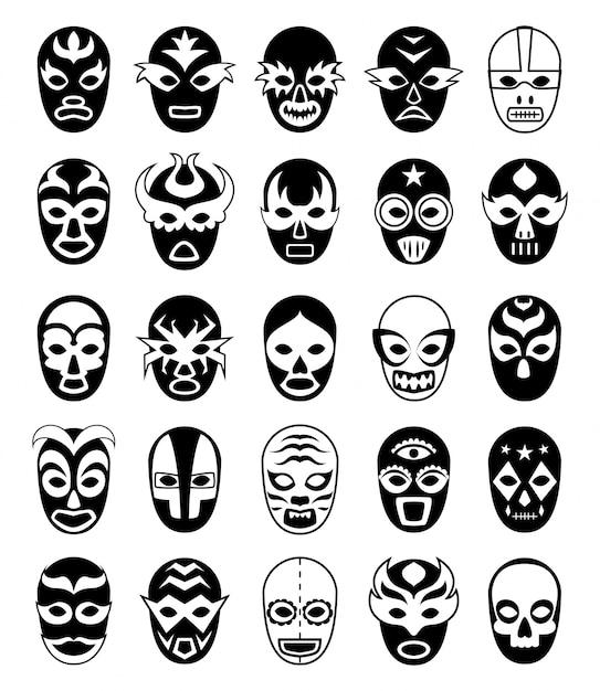 Maschere da combattimento. siluette messicane lucha libre di luchador mascherato isolate Vettore Premium