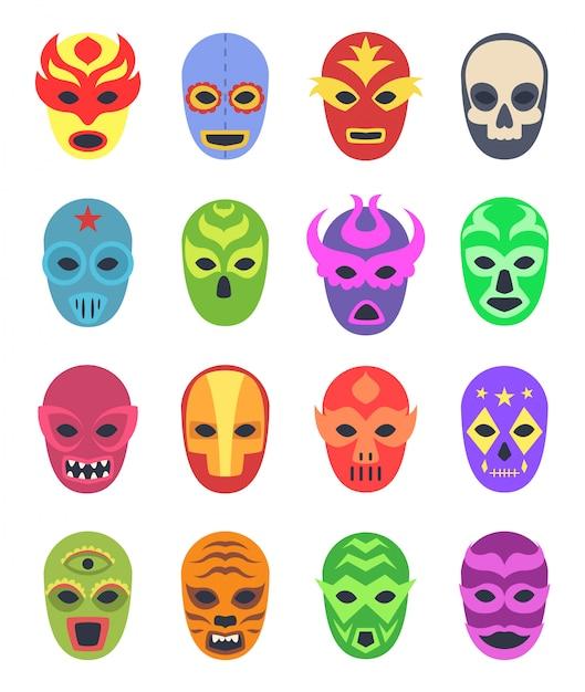 Maschere da wrestler. combattenti marziali messicani indossano abiti colorati collezione mascherata lucha libre Vettore Premium