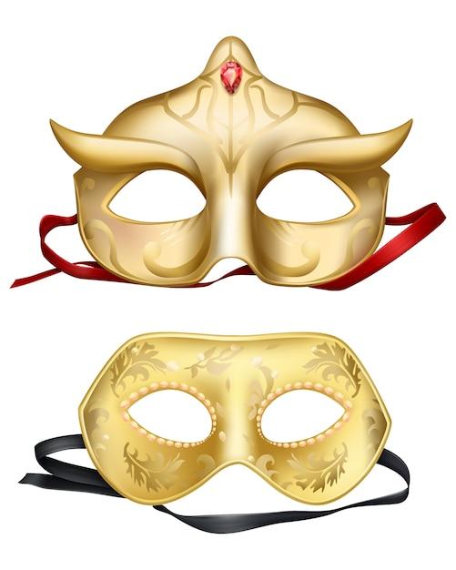 Maschere per il viso, carnevali veneziani Vettore gratuito