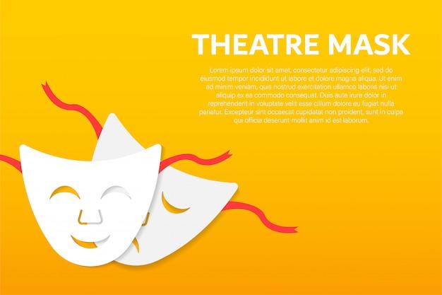Maschere teatrali di commedia e tragedia Vettore Premium