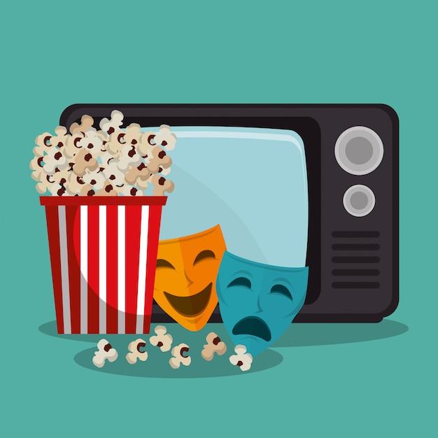 Maschere teatrali icone cinematografiche Vettore Premium
