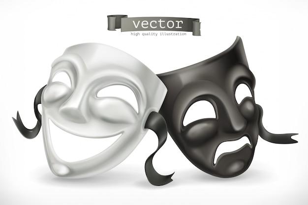 Maschere teatrali in bianco e nero. commedia e tragedia, icona 3d Vettore Premium