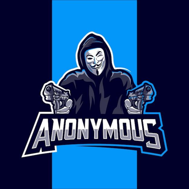 Mascotte anonima logo design esport Vettore Premium