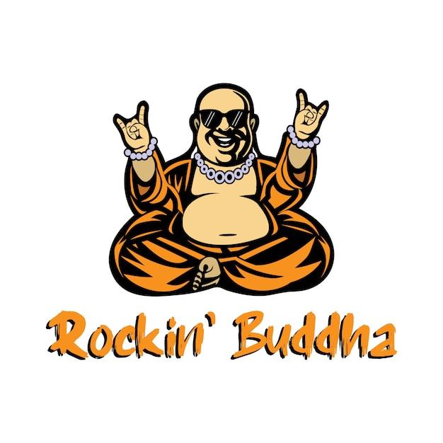 Mascotte buddista con un flusso di musica rock Vettore Premium