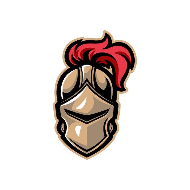 Mascotte casco guerriero cavaliere Vettore Premium