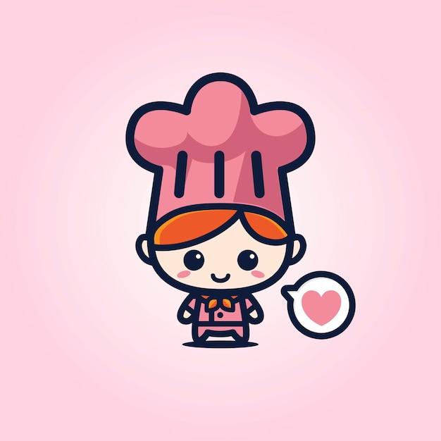 Mascotte chef carino Vettore Premium