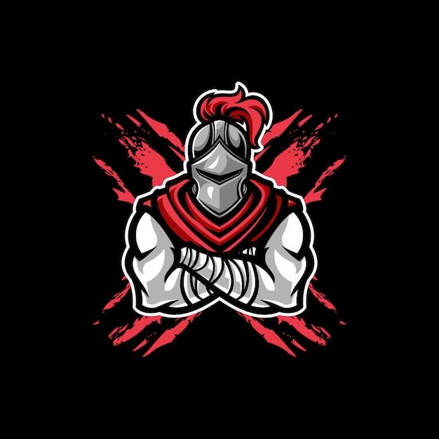 Mascotte del cavaliere guerriero Vettore Premium