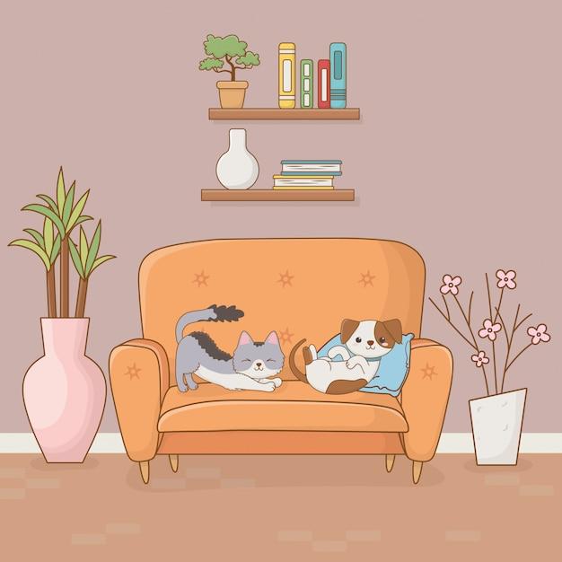 Mascotte del gatto e del piccolo cane nella stanza della casa Vettore Premium