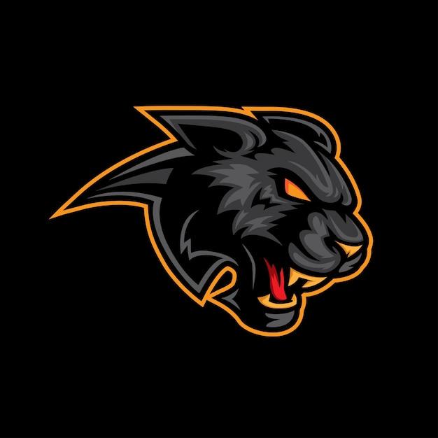 Mascotte del logo della pantera nera Vettore Premium