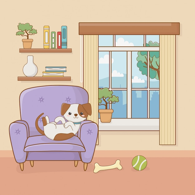 Mascotte del piccolo cane nella stanza della casa Vettore Premium