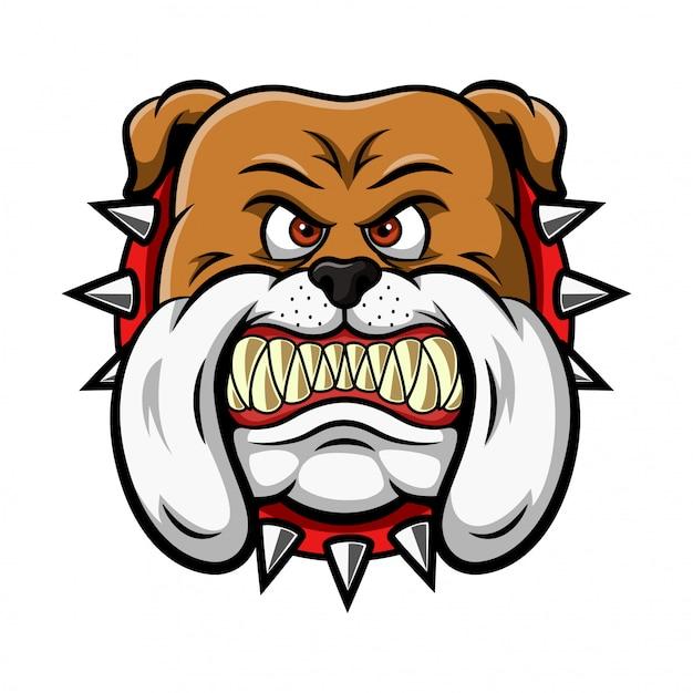 Mascotte dell'illustrazione arrabbiata della testa del bulldog Vettore Premium