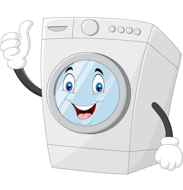 Mascotte della lavatrice che dà i pollici in su Vettore Premium