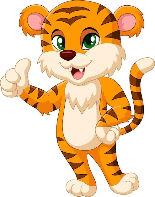 Mascotte della tigre del bambino che dà pollice in su Vettore Premium