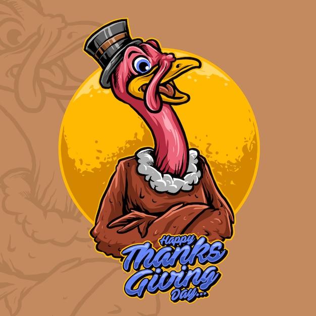 Mascotte della turchia dell'illustrazione di vettore di giorno di ringraziamento Vettore Premium
