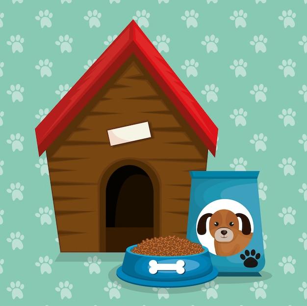 Mascotte di casa in legno e cibo Vettore gratuito