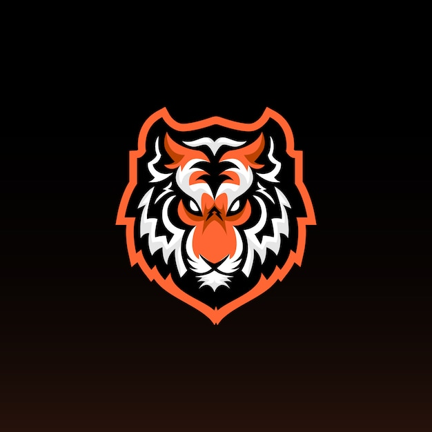 Mascotte di gioco testa di tigre. tiger e sports logo design. Vettore Premium