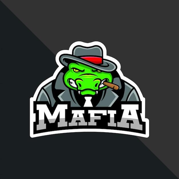 Mascotte di mafia coccodrillo vettoriale per logo compagno di squadra Vettore Premium