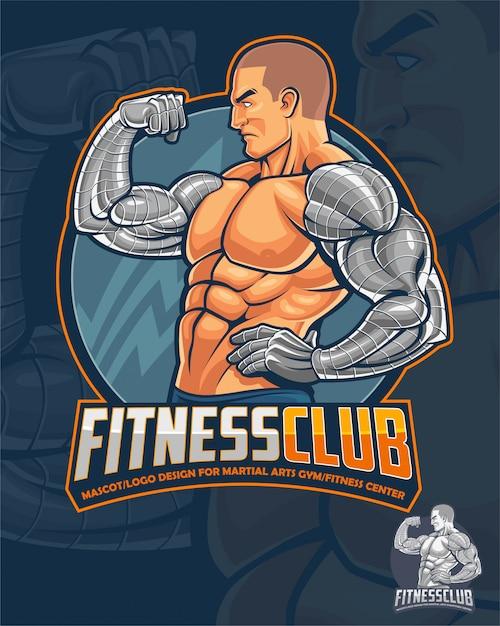 Mascotte e logo del fitness club Vettore Premium